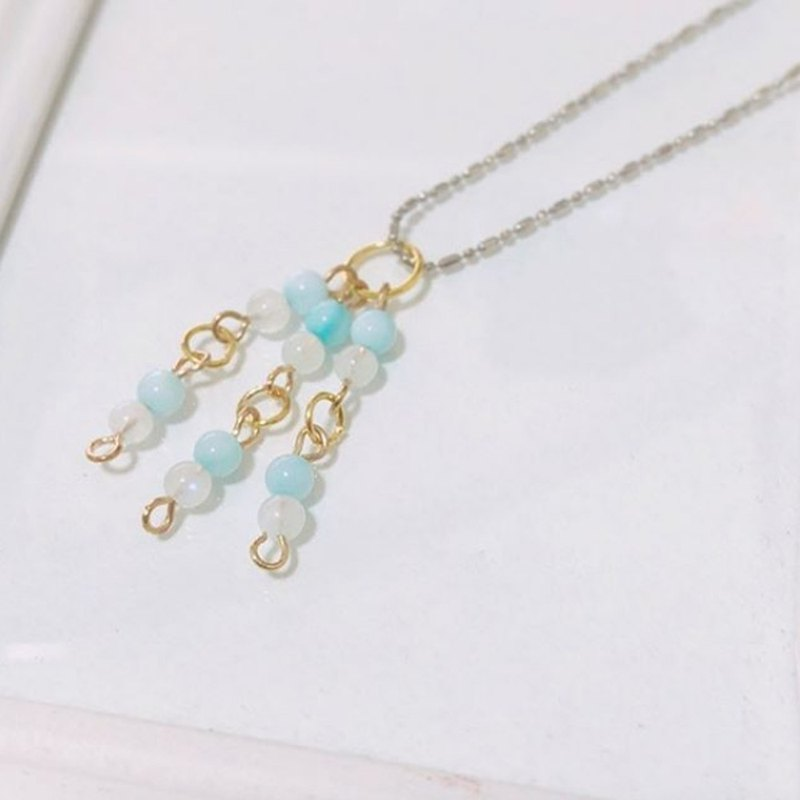 Puputraga Uesugi flower life / natural moonlight blue shell mix elegant temperament white k drop chain