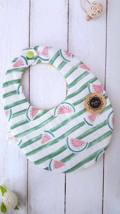 (Green striped watermelon / Great box) eight yarns 100% cottonAB weight egg-shaped face bibs