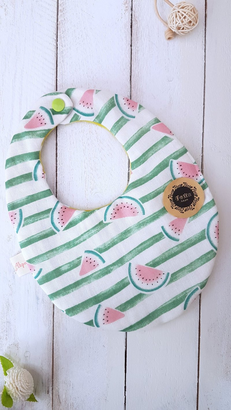 (Green Striped Watermelon/Summer Grid) Octa Yarn 100% Cotton AB Egg Shape Bib
