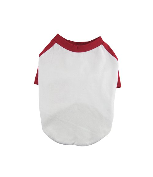 Maroon Raglan Sleeves 95Cotton/5Spandex Jersey Dog Tee, Dog Apparel
