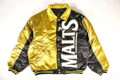[3thclub Ming Ren Tang] Suntory of Japan's top beer black gold color baseball jacket can double-vintage bse-013