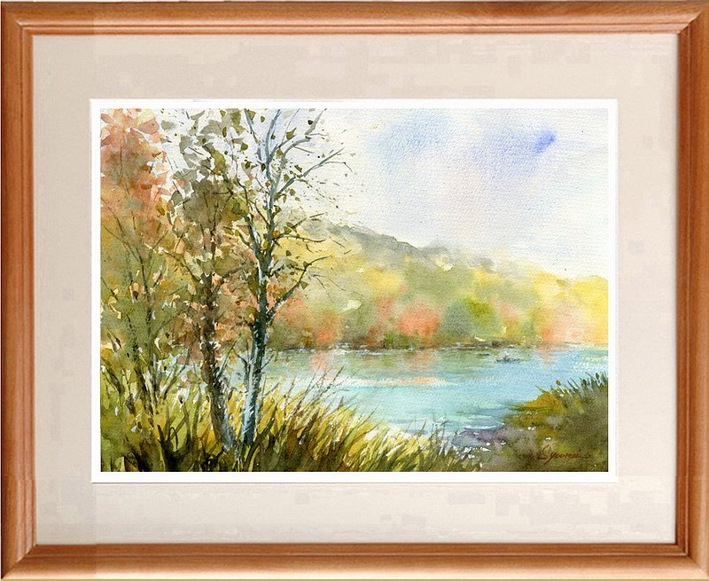 Watercolor painting Autumn lakeside