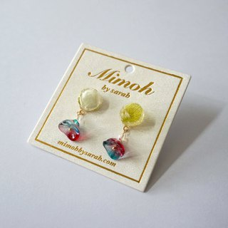 Pressed Flower Earrings with Colorful Beads