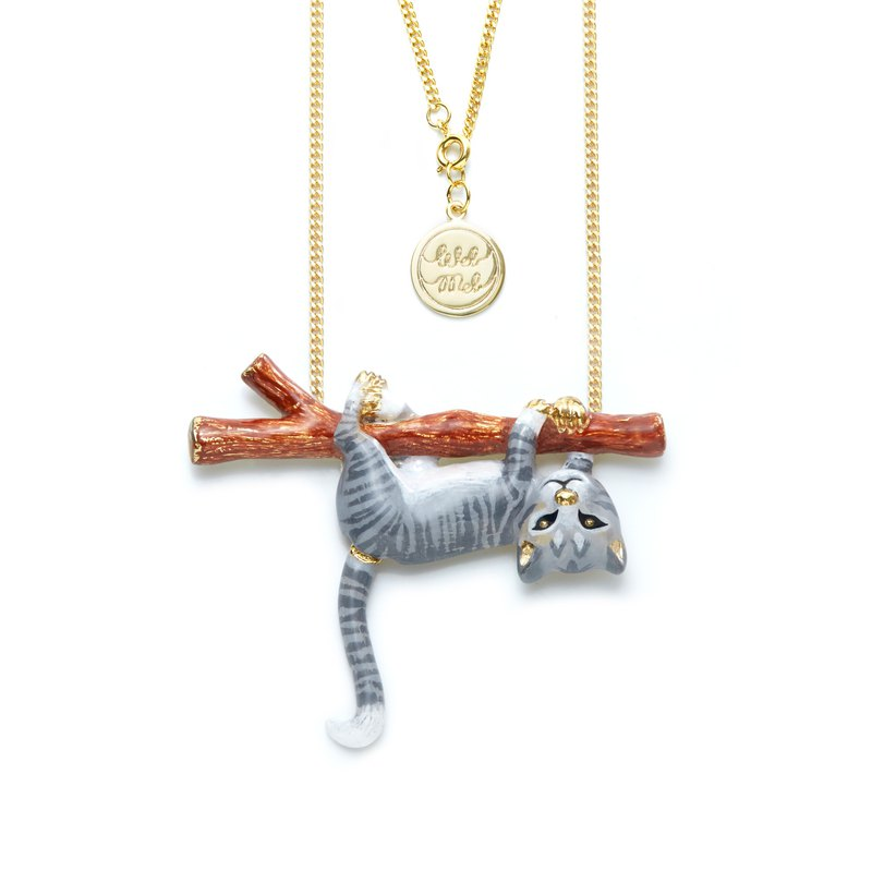House Wife Gray Kitten Necklace