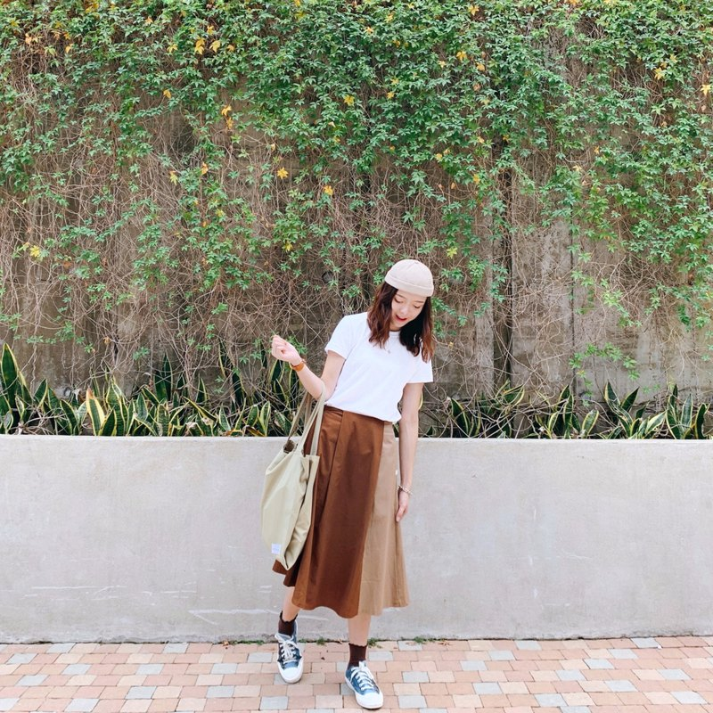 [layered] chestnut color / autumn color matching half-length A-line skirt