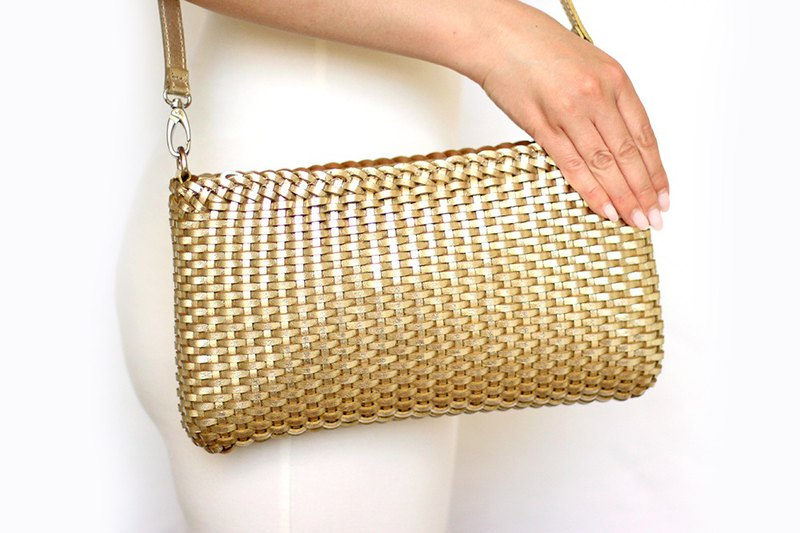 Leather bag, golden bag, womens golden bag, golden crossbody, golden braided bag