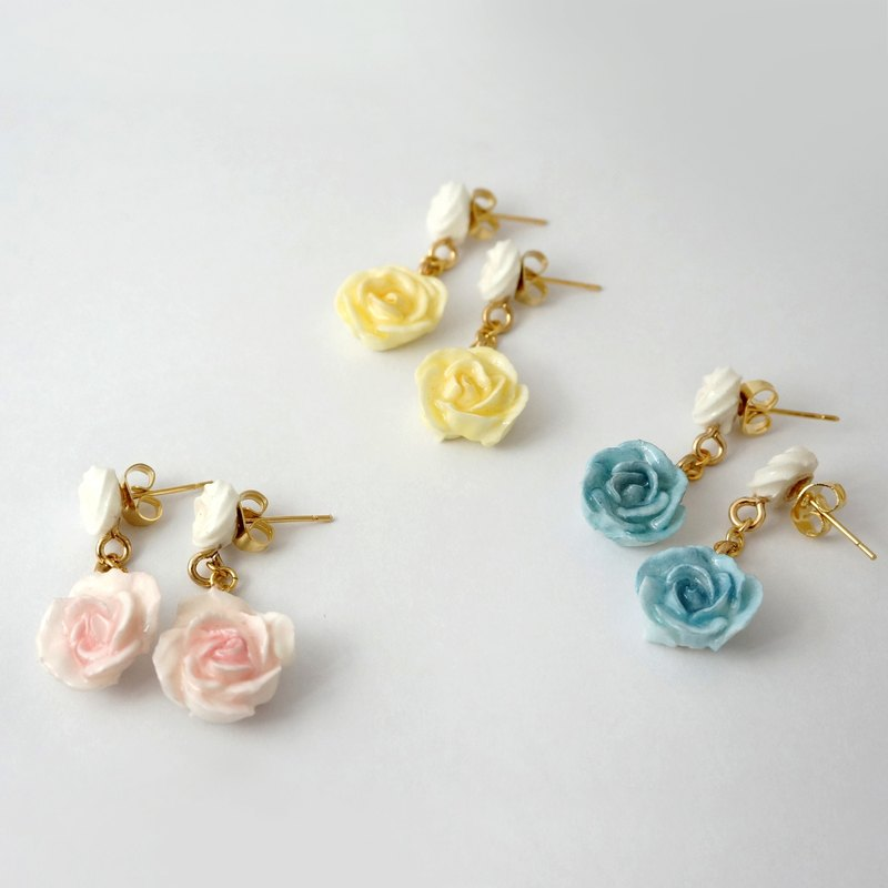 Rose Earrings/Clip on =Flower Piping= Customizable