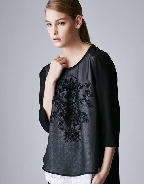 [] High-quality ladies preferred KIINO pressure sleeve cashmere round neck chiffon blouse (2862-1821-01 black)