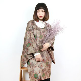 Back to Green Japan back to the line arc collar rendering brown vintage kimono KD-20