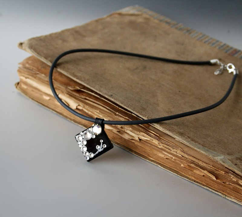 Black Glass Pendant Necklace, Swarovski Crystals, Hand Crafted