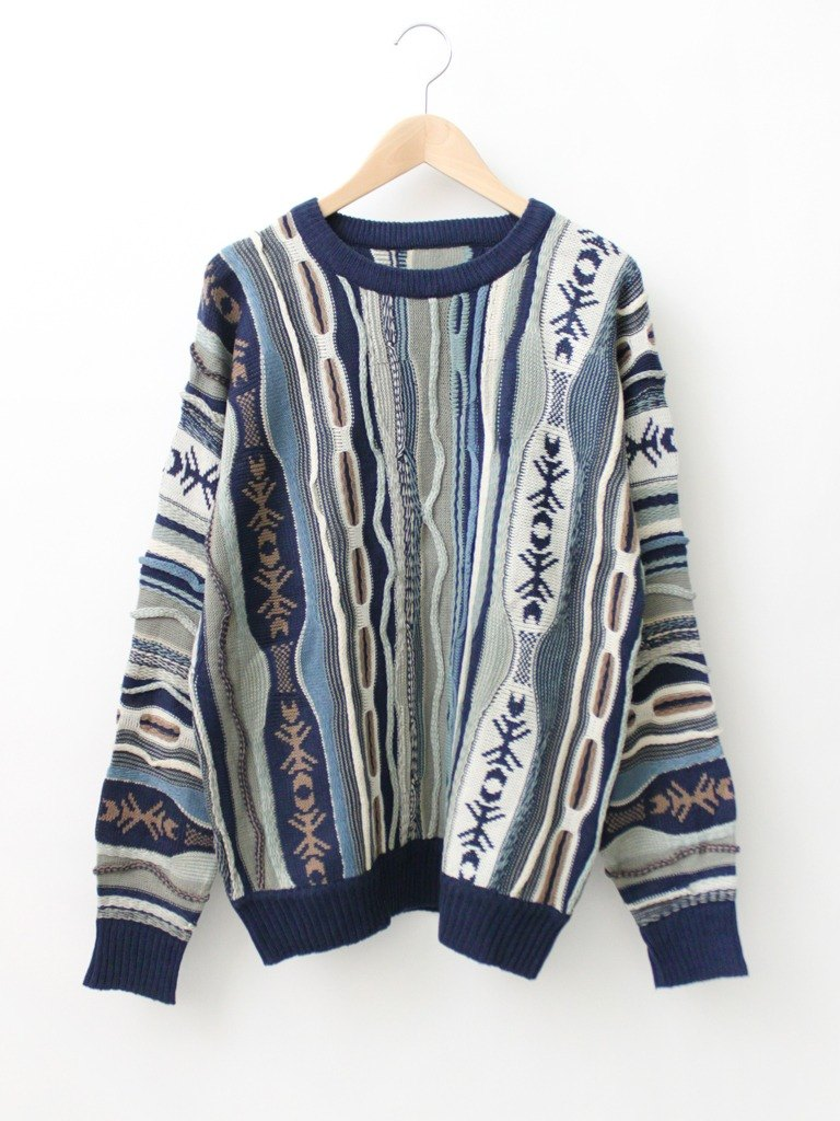 [RE0119SW104] Navy hippie style totem loose vintage sweater