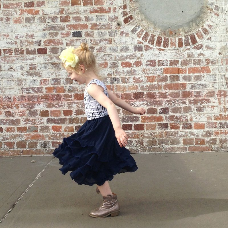 Girls Flamenco Skirt in Royal Blue Chiffon 1 - 4 Years