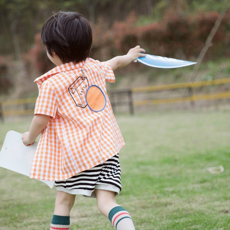 Orange juice for breakfast | Children's orange check shirt printed cotton long section collar short-sleeved shirt