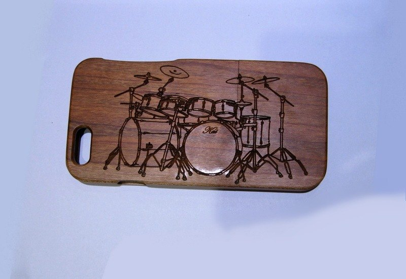 Customize wooden iPhone and Samsung case, personalized gift, drum set