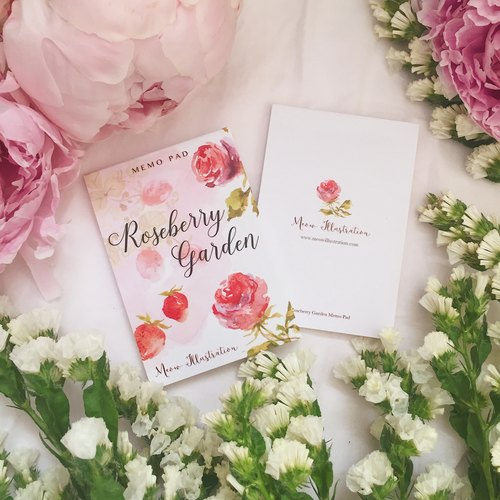 RoseBerry Garden Watercolour Memo Pad - 30 pages