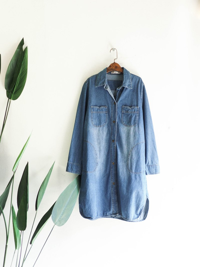 Shallow water blue brushed arc large pocket antique cotton denim denim jacket jumpsuit vintage