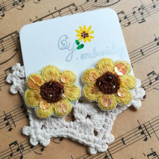 Qy.embroidery summer sunflower hand-embroidered earrings ear clip