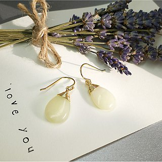 S Lee-925 Silver (gold-plated) hand-made semi-precious series - grape stone water drops ear hooks