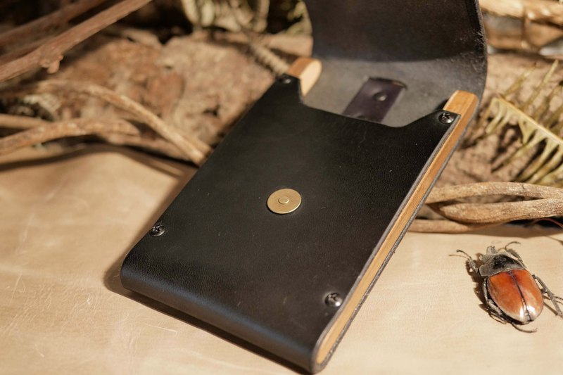 迢迢tiaotiao teak cell phone case Italian tanned cowhide Burma teak handmade limited edition black