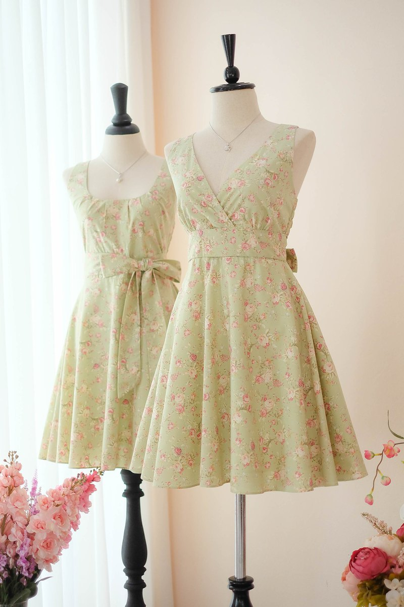 Dusty Green Floral Sundress Spring Summer Tea Dress Vintage Inspired