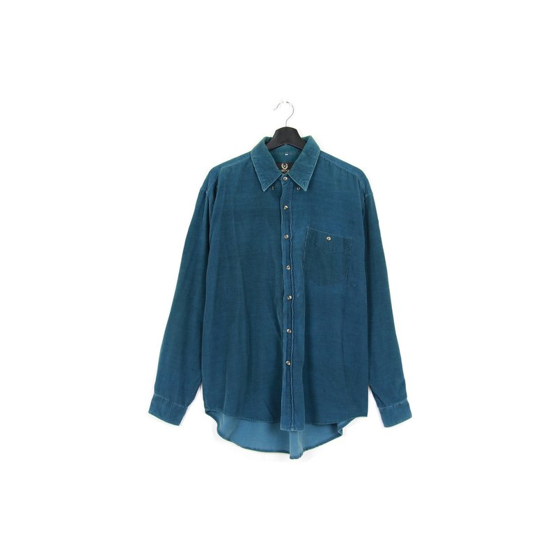 Back to Green :: Corduroy Steel Green Shirt // Both Men and Women Wear // vintage (SH-12)