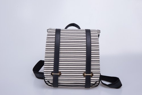 Striped Backpack bag after bag shoulder bag canvas backpack schoolbag College Wind