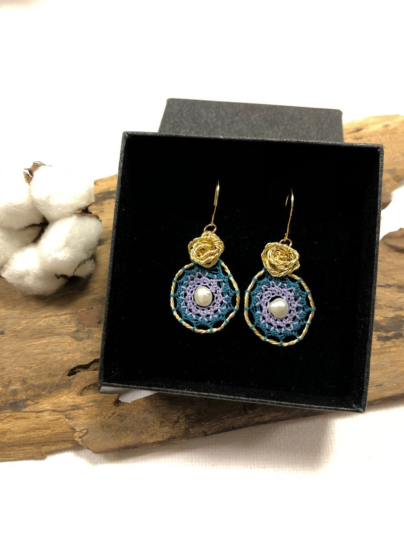 Soul Dream Catcher Earrings Rose Wreath | Custom Handmade Wedding Healing Gifts Christmas
