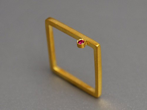 Ruby gold-plated sterling silver simple geometric square Engagement rings gold box Modern Square compact design simple and elegant creative birthday gift R052 | Greek original handmade jewelry This and That