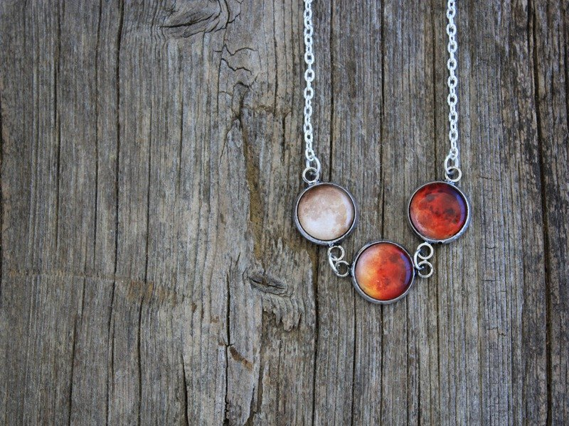 Lunar Eclipse Necklace, Lunar Eclipse, Moon Eclipse, Moon Phases, Moon Eclipse Phases, Full Moon Necklace, Solar System Necklace, Eclipse