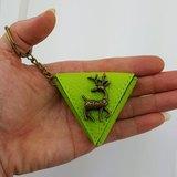 梅花鹿 三角形零錢包袋,吉他pick袋 鑰匙扣 包掛飾 小禮物 可印名字