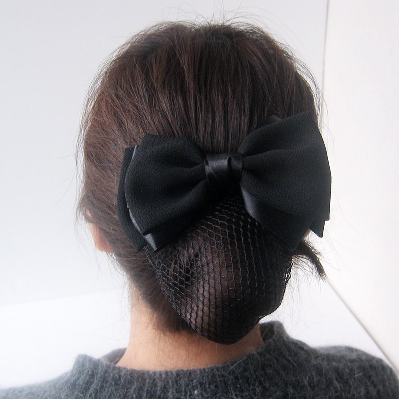 Black Chiffon Ribbon Bow black  Hair Bun Net  Cover Barrette