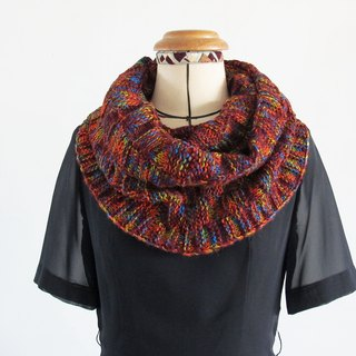 Blue wool scarf (color yarn orange)