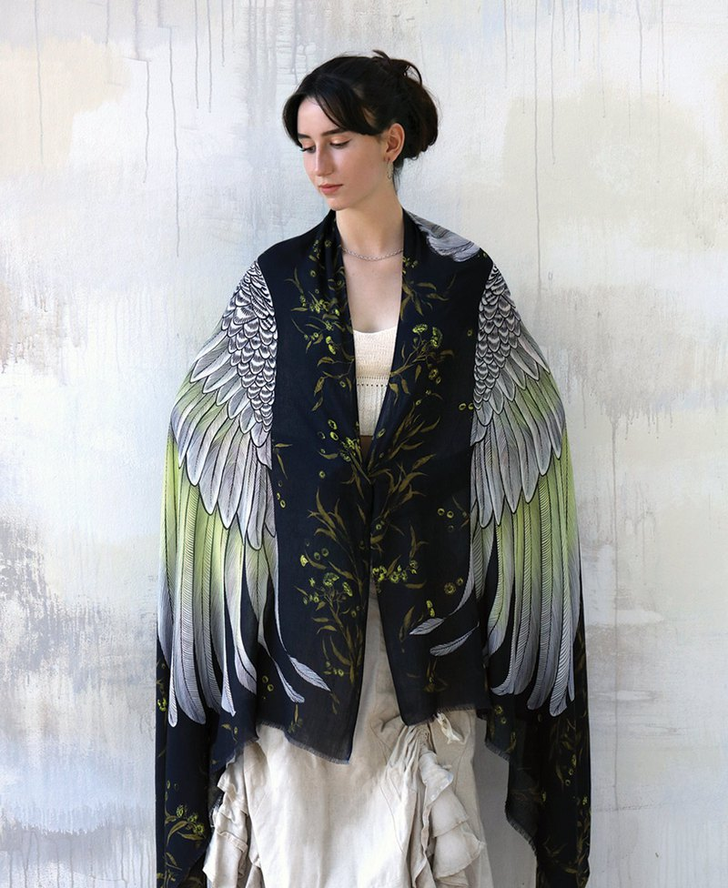 White Cockatoo Silk Shawl