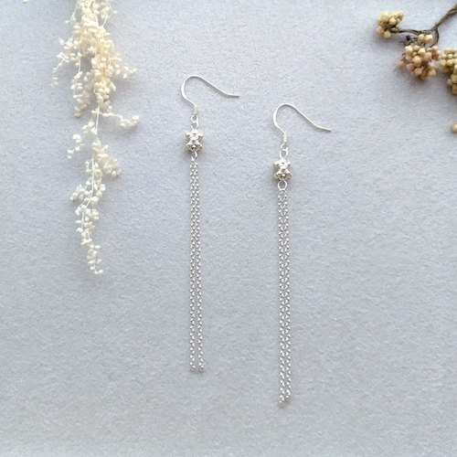 Star language - sterling silver long drop pin / clip earrings