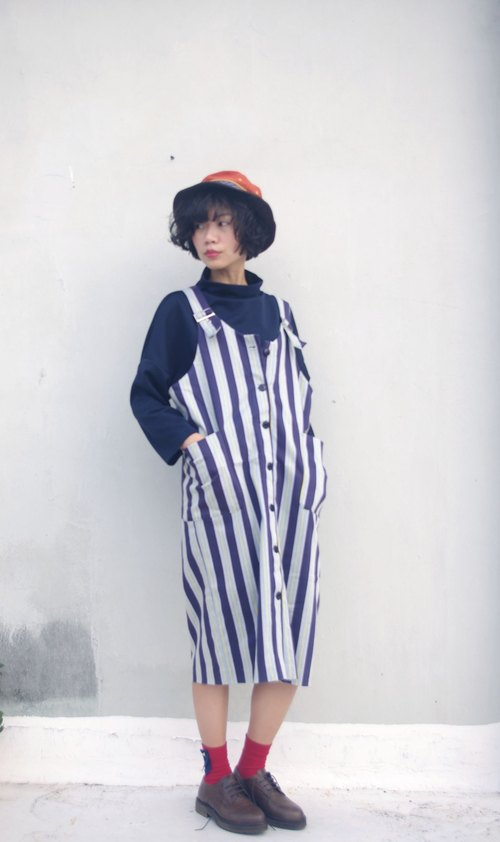 4.5studio- independent hand-made by FU- blue stripes College Wind Dress Straight