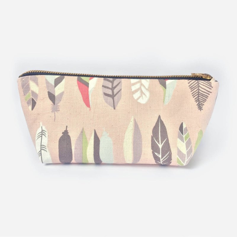 筆袋/化妝袋 Canvas Zipper Pouch, Feathers Pink