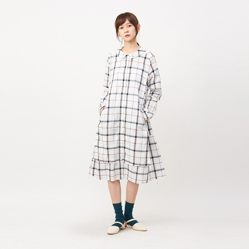 a la sha+a plaid long shirt dress