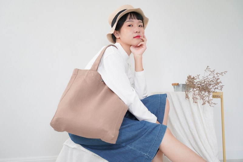 Casual Linen Tote Bag (Ovaltine)