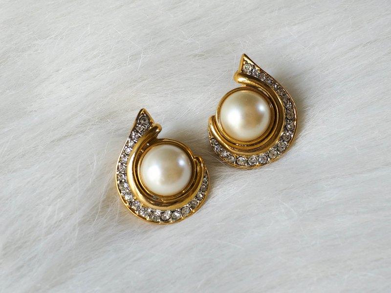 河水山 - 優雅貝珠水滴簡約女孩 古董珠寶輕飾品耳針式飾品 耳環