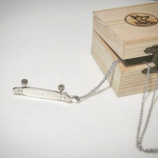 Customized pattern mark customized! Long-neck removable silver plate Longboard necklace -silver ver.