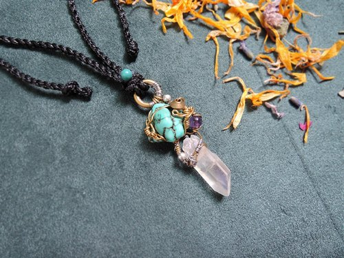 │ sneak process │ turquoise Turquoise / Shuiguang Crystal Aqua Aura Quartz / Amethyst Amethyst / Brass / stainless steel / wax rope Korea
