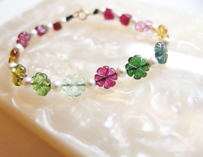 Jingjing Workshop *Love2hm [Little Lucky] 18k Real Gold Rainbow Candy Tourmaline Pearl Four Leaf Clover