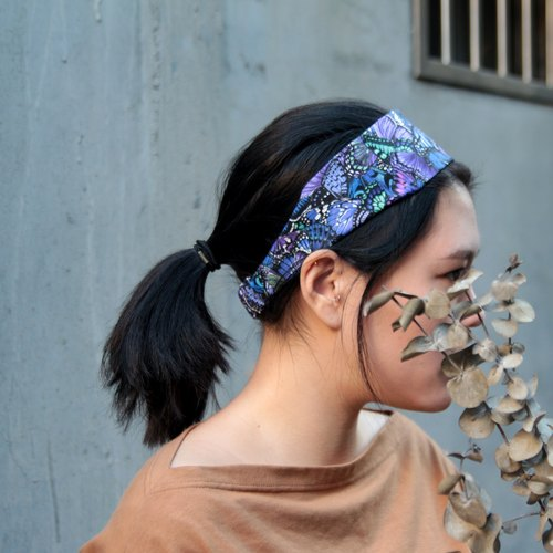 An inverted butterfly / purple hand-word elastic hair band _The Inversed Butterfly // cotton / Taiwan single elastic hair band