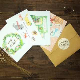 Small fresh Christmas illustration postcard set