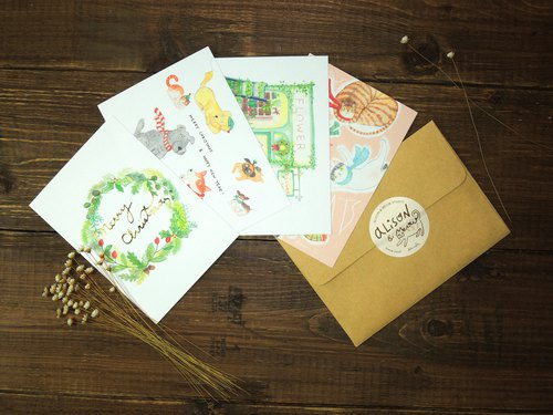 Small fresh Christmas illustration postcard set free shipping