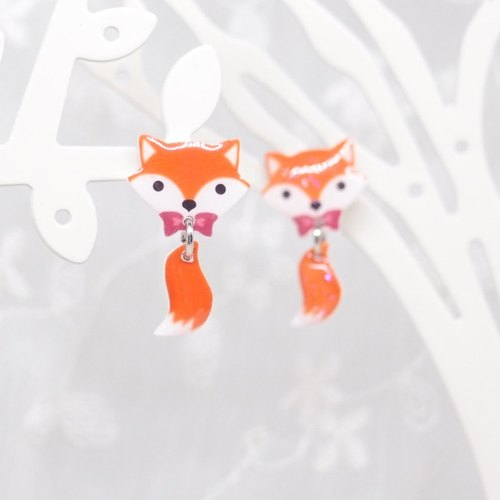 Fox Garden hand-made fox earrings / ear pins / earrings / ear clips Christmas gifts exchange gifts birthday gifts**If you do not specify the transparent ear clip shipping**