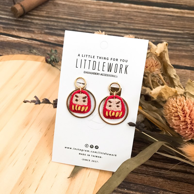 Littdlework embroidered earrings ear clip ear stud ear hook | Dharma tumbler