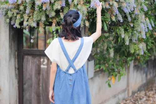 :: Linen Backcross Pinafore :: Light blue natural indigo ::.