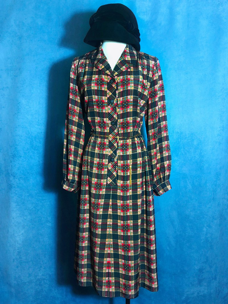 British plaid textured long-sleeved vintage dress / brought back to VINTAGE abroad