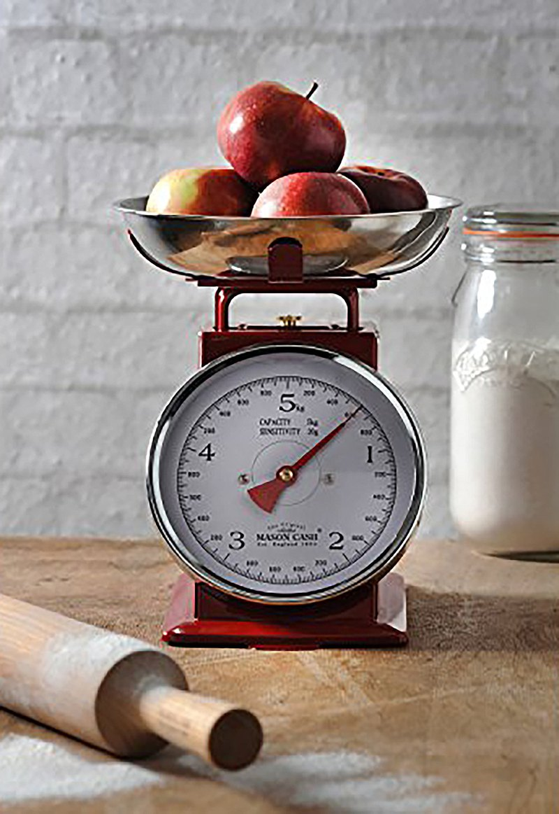 British Rayware industrial style retro style large round surface 5 kg kitchen mechanical scale (red)